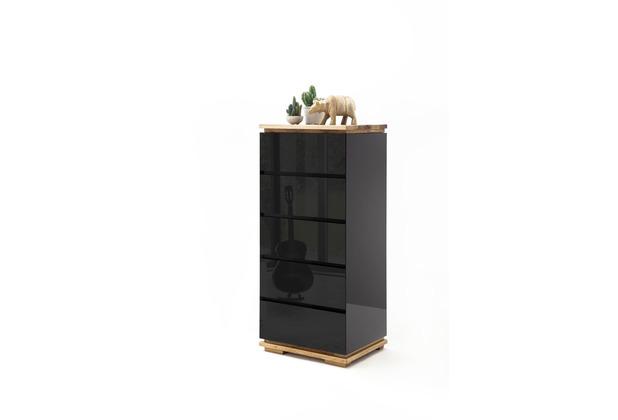 MCA furniture Chiaro Hochkommode hochglanz schwarz 5 Schubkästen 51 x 115 x 40 cm