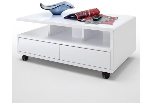 MCA furniture Chris Couchtisch mit 2 Schubkästen und 5 Rollen, Hochglanz weiß