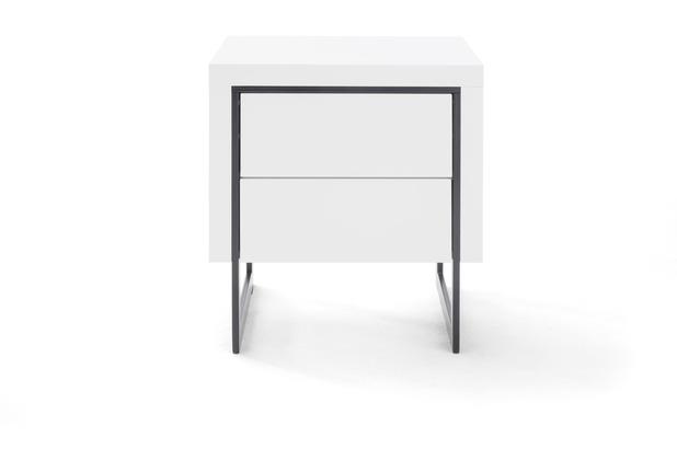 MCA furniture Cooper Nako Nachtkonsole weiß 2 Schubkästen schwarz 50 x 55 x 40 cm