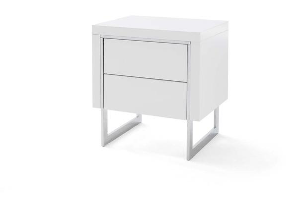 MCA furniture Cooper Nako Nachtkonsole weiß 2 Schubkästen chrom 50 x 55 x 40 cm