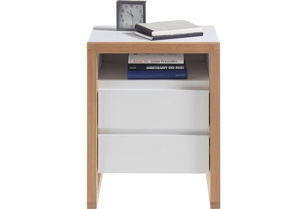 MCA furniture Facil Nachtkonsole Eiche weiß 2 Schubkästen 48 x 60 x 40 cm