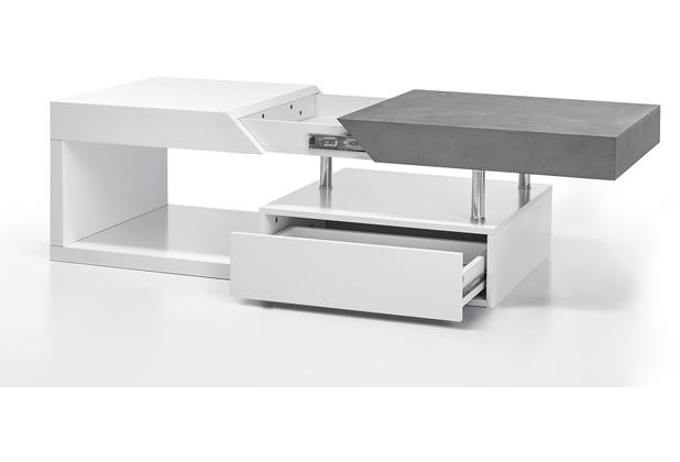 MCA furniture Hope Couchtisch weiß matt, Beton  120 x 43 x 60 cm