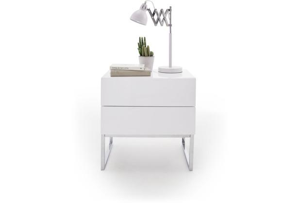 MCA furniture Nola Nachtkommode mit 2 Schubkästen mit Push-Open Funktion, weiß