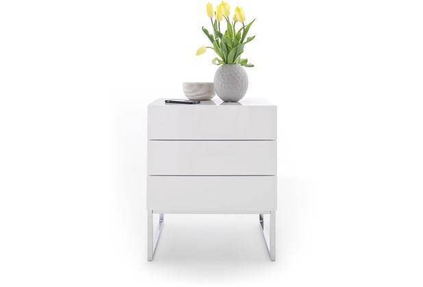 MCA furniture Nola Nachtkommode mit 3 Schubkästen mit Push-Open Funktion, weiß