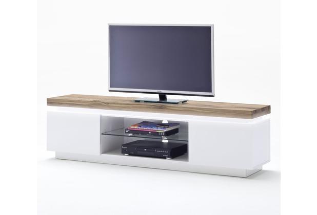 MCA furniture Romina Lowboard mit 2 Türen und 1 offenen Fach, weiß + Eiche