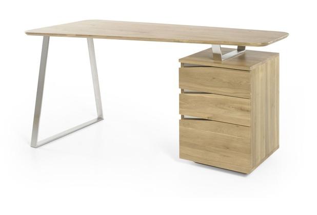 MCA furniture Tori Schreibtisch mit 3 Schubkästen, Asteiche