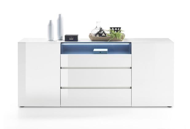 MCA furniture Vicenza Sideboard mit 3 Türen, 2 Schubkästen und 1 offenen Fach, weiß
