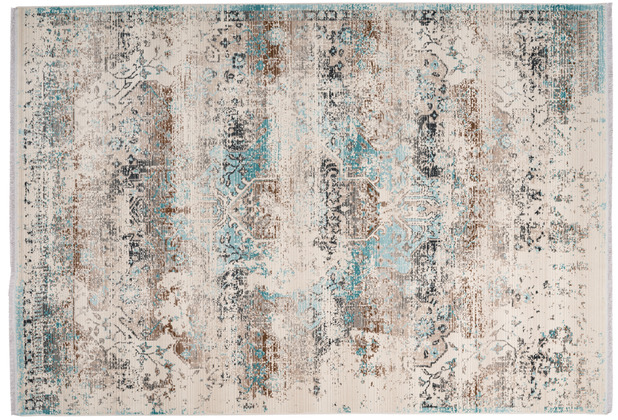me gusta Teppich Anouk 325 Taupe / Türkis 120 x 170 cm