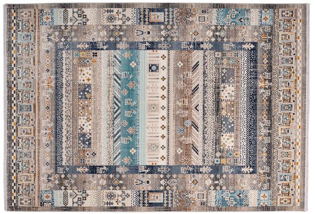 me gusta Teppich Anouk 525 Braun / Blau 120 x 170 cm