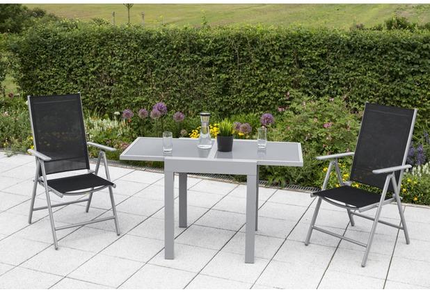 merxx Amalfi Set 3tlg., Klappsessel & Balkonausziehtisch graue Platte, schwarz