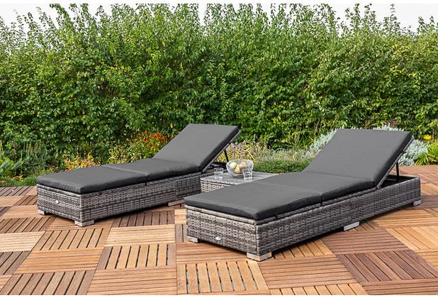 merxx 3tlg. Multiliegen Set, 2 Einzelmultiliegen, mehrfach im Kopf- und Fußteil verstellbar, 1 Hocker, 50 x 50 cm, graues Geflecht