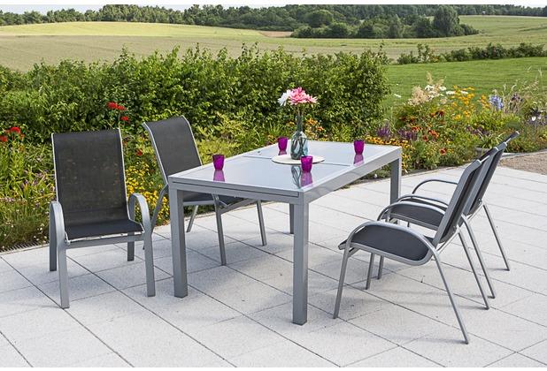 merxx Amalfi Set 5tlg., Stapelsessel & 140 (200) x 90 cm, schwarz Gartenmöbelset