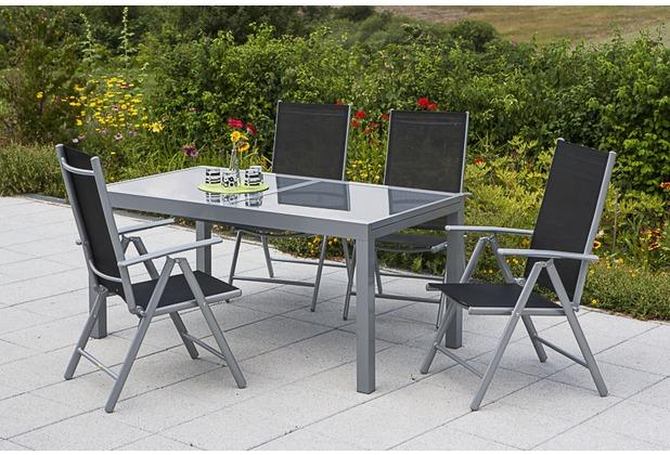 merxx Amalfi Set 5tlg., Klappsessel & 120 (180) x90 cm, schwarz