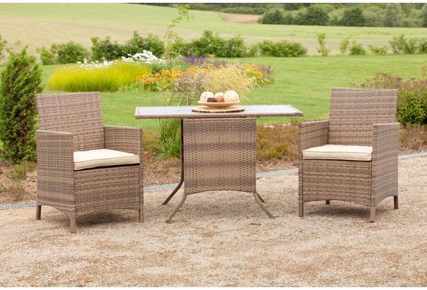 merxx 5tlg. Balkonset Treviso, 2x Sessel inkl. Sitzkissen, 1 Tisch 115 x 64 cm, durchgewickerter Tisch mit aufliegender Glasplatte, naturgrau