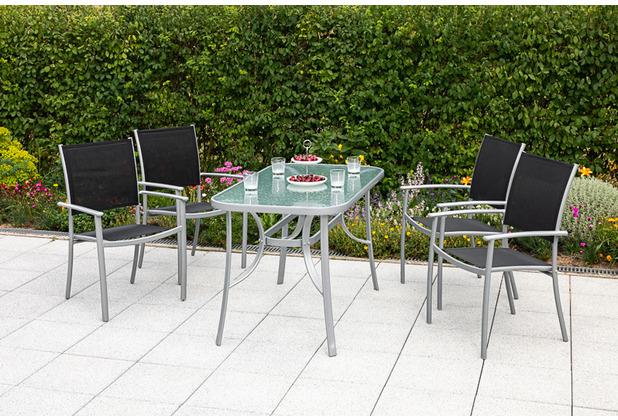 merxx 5tlg. Milano Set, 4 Milano Stapelsessel, schwarz,  1 Tisch, 120 x 90 cm, silber/matt