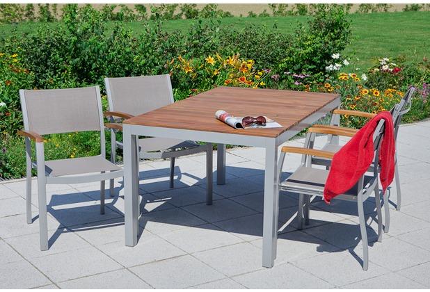 merxx Naxos Set 5tlg., Stapelsessel & rechteckiger Tisch