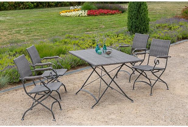 merxx 5tlg. Sanssouci Set, 4 Klappsessel, 1 Klapptisch, 120 x 80 cm, grau Gartenmöbelset