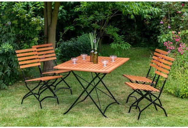 merxx 5tlg. Schlossgarten Set, 4 Schlossgarten Klappstühle, 1 Schlossgarten Klapptisch, 120 x 80 cm, FSC Eukalyptus