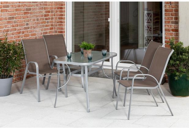merxx 5tlg., Sorrento Set, 4 Sorrento Stapelsessel, silber/taupe,  1 Tisch, 120 x 70 cm, silber/matt