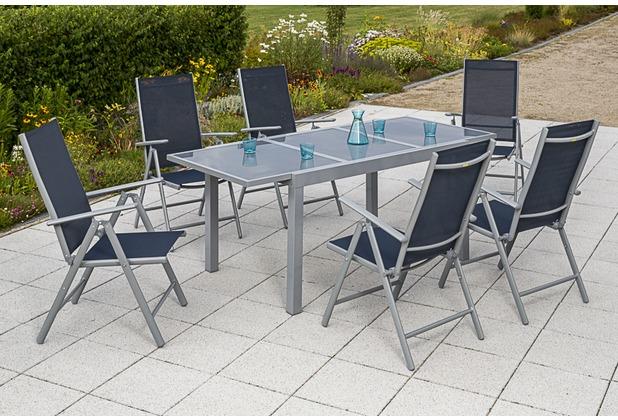 merxx Amalfi Set 7tlg. Klappsessel & 140(200)x90, marineblau
