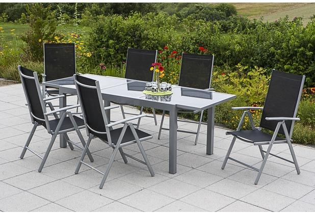 merxx Amalfi Set 7tlg. Klappsessel & 160(220)x90, schwarz