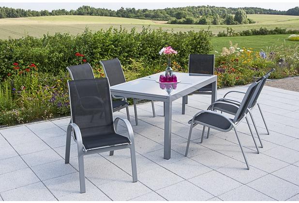 merxx Amalfi Set 7tlg., Stapelsessel & rechteckiger Tisch, schwarz Gartenmöbelset
