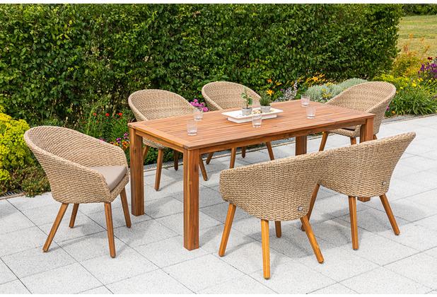 merxx 7tlg. Arrone Set, 6 Arrone Sessel, Alumiumgestell mit naturfarbenen Kunststoffgeflecht und Akazienbeinen, inkl. Sitzkissen, 1 Tisch, 185 x 90 cm, FSC Akazie