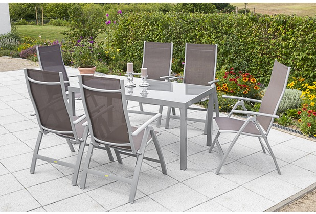 merxx Gartenmöbelset Carrara 7tlg. 150x90 Taupe