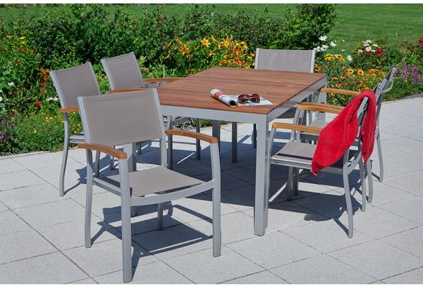 merxx Naxos Set 7tlg., Stapelsessel & rechteckiger Tisch