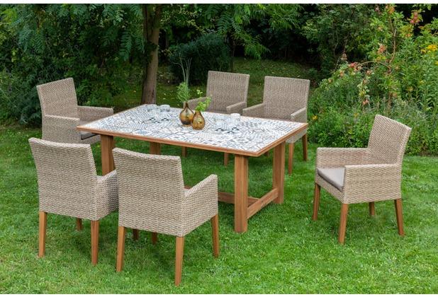 merxx 7tlg. Ranzano Set, 6 Sessel, Beine aus Akazienholz, 1 Keramikfliesentisch, 172 x 105 cm, Akazienholz
