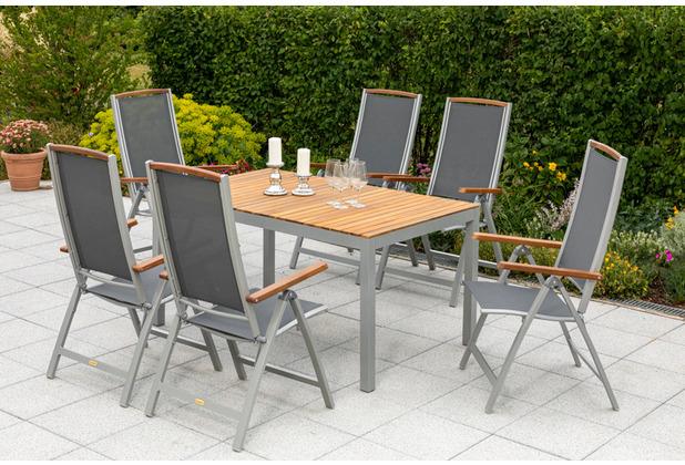 merxx 7tlg. Siena Set, 6 Siena Klappsessel, Rückenlehne 5-fach verstellbar, mit Akazienholzapplikationen, 1 Tisch, 150 x 90 cm, Tischplatte aus Akazienholz, FSC Akazie