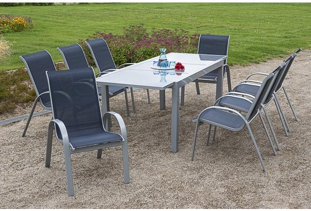 merxx Amalfi Set 9tlg., Stapelsessel & 160 (220) x 90 cm, marineblau