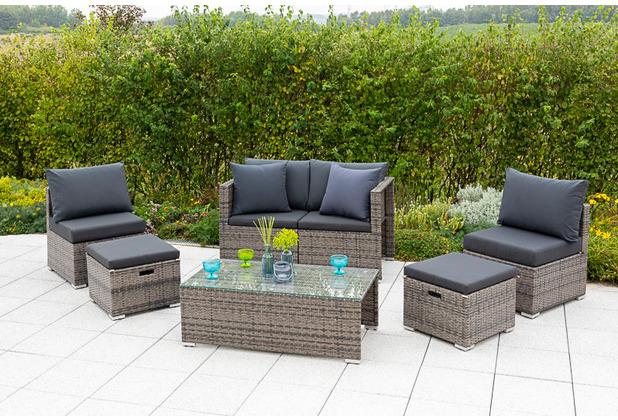 merxx Agira Set, diverse Aufstellmöglichkeiten, 4 Sessel, 1 Tisch, 2 Hocker,