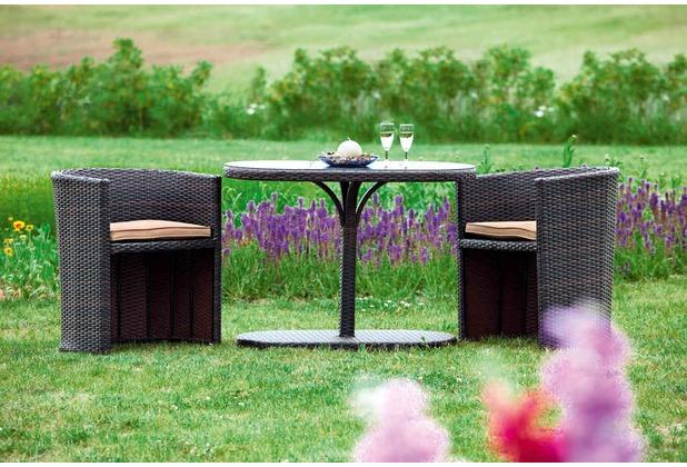 merxx Ancona Balkon Set, 3tlg., 2 Sessel inkl. Kissen, 1 Tisch, oval, naturfarbenes Geflecht mit beigefarbenen Kissen