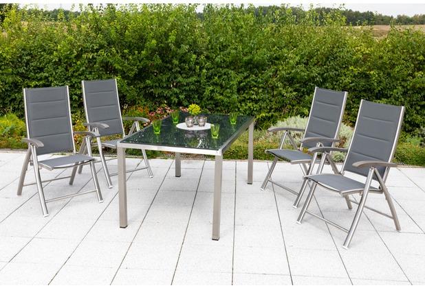merxx Ferrara Set 5tlg., Klappsessel & rechteckiger Tisch Gartenmöbelset