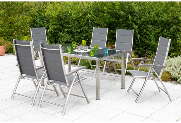 merxx Ferrara Set 7tlg., Klappsessel & rechteckiger Tisch