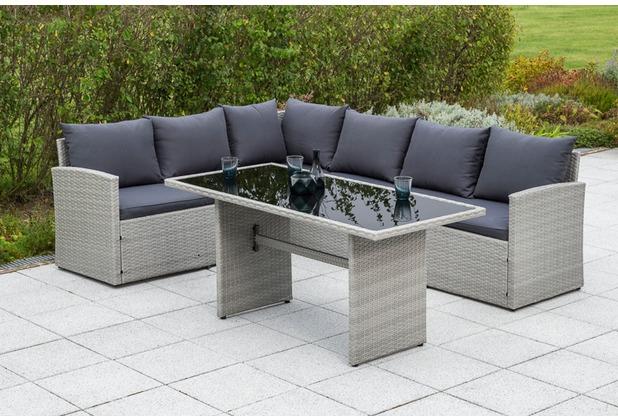 merxx Lanzarote Eckset, inkl. Sitz- und Rückenkissen, 1 Tisch 145 x 70 cm, graues Kunststoffgeflecht, graue Glasplatte