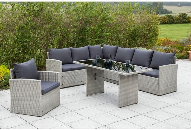 merxx Lanzarote Set, Lanzarote Eckbank, Lanzarote Sessel, inkl. Sitz- und Rückenkissen, inkl. Sitz- und Rückenkissen, 1 Tisch 145 x 70 cm, graues Kunststoffgeflecht, graue Glasplatte
