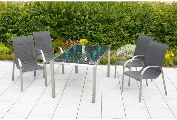 merxx Lucca Set 5tlg., Stapelsessel & rechteckiger Tisch