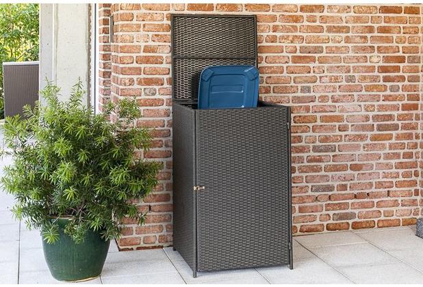 merxx Mülltonnenabdeckung 64 x 64 x 109 cm, grau Stahlgestell mit Kunststoffgeflecht