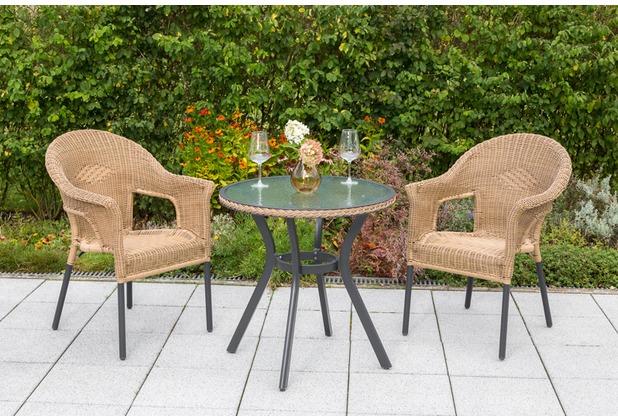 merxx 3tlg. Ravenna Set, 2 Ravenna Stapelsessel, 1 Tisch, Ø 70 cm, Natur Gartenmöbelset