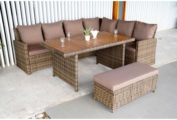 merxx Rimella Eckset, Eckbank inkl. Sitz- und Rückenkissen, 1 Bank, inkl. Sitzkissen, 1 Tisch, Tischplatte aus Akazienholz