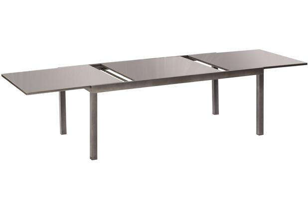 merxx Semi Ausziehtisch 180 (250) x 100 cm graphitfarbenes Gestell / graue Glasplatte Aluminium