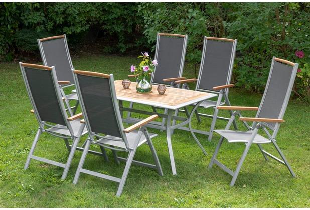 merxx Siena Set 7tlg., Klappsessel & rechteckiger Tisch