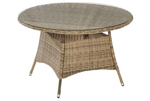 merxx Tisch Riviera, Ø 120 cm, aufliegende Glasplatte, naturgrau