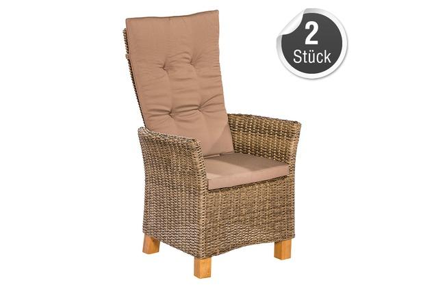 merxx Toskana Sessel, Aluminiumgestell mit Kunststoffgeflecht und Akazienbeinen, 2er Set, nur in Natur erhältlich
