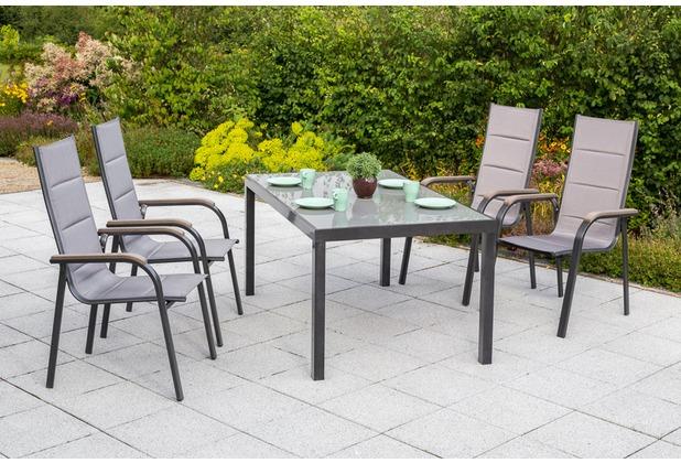 merxx Trivero Set 5tlg., Stapelsessel & rechteckiger Tisch