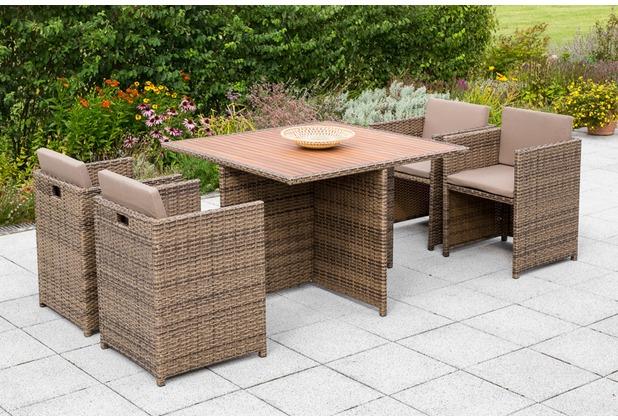 merxx Verona Set, 4 Sessel, inkl. Kissen, 1 Tisch 110 x 110 cm, naturfarbenes Kunststoffgeflecht, Tischplatte aus Akazienholz