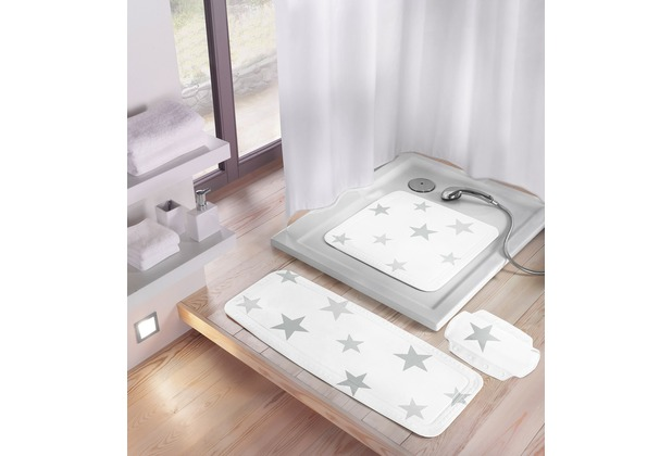 Meusch Duscheinlage Stars, Silbergrau 55x 55 cm