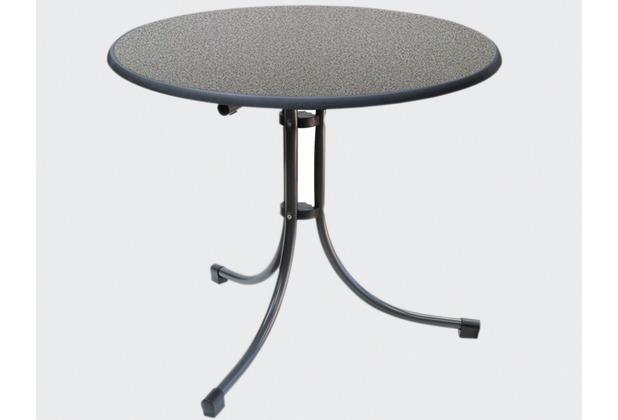 MFG Boulevard-Klapptisch Sevelit, Stahlrohrgestell weiß, Tischplatte Sevelit weiß, Ø 85 x H 70 cm